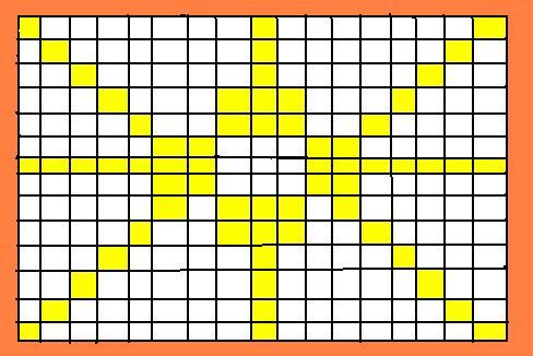 17 vertical rows or pins. 14 horizontal rows.