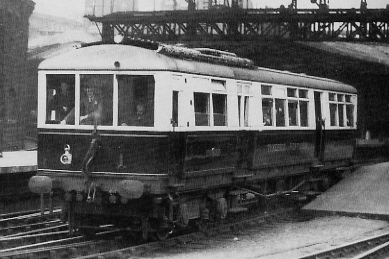 Armstrong Whitworth developed their diesel railcar in 1932, this one, 'Tyneside Venturer' seen on trial at Newcastle Central Station the same year