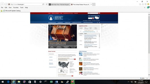 This shows the government web-site home page for the United States House of Representatives.  It is from www.house.gov.