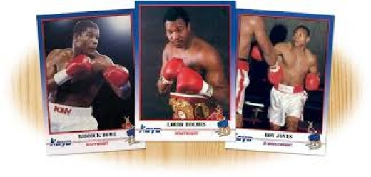 Boxing has several card companies that produce boxing cards. Above are from left to right, Riddick Bowe, Larry Holmes and Roy Jones jr.