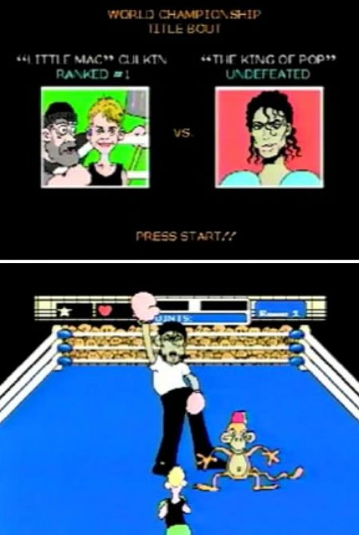 Mike L. Mayfield of Citizens Against Safety Goggles created this awesome animation of Michael Jackson in Punch-Out, one of the best NES games ever! In this game he fights Macaulay Culkin to survive. His monkey, shoes and signature moves are revisited