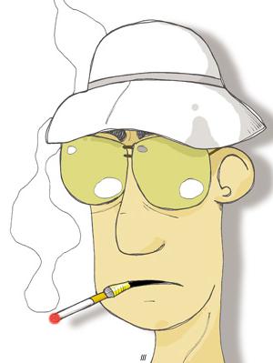 Hunter S. Thompson caricatura