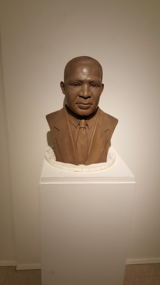 """This is a sculpture of Martin Luther King Jr. by Patrick Jewett at the """"And Still We Rise"""" exhibit at """"The Museum of African American Art""""."""