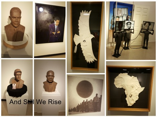 "This is a collage I created of art work in the ""And Still We Rise"" exhibit at ""The Museum of African American Art""."