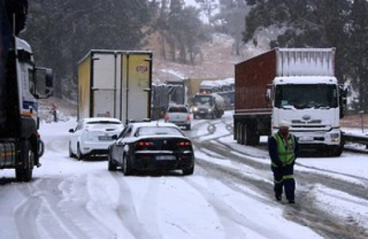 Van Reenen Pass, KZN, South Africa during snow fall, July