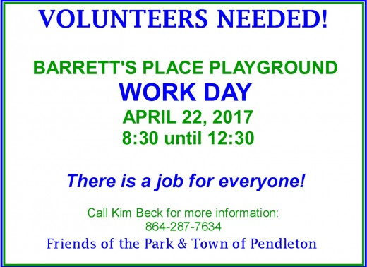 There is a job for everyone so come help keep our playground safe for our children.