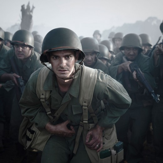 Combat medic, Desmond Doss (Andrew Garfield) and his battalion charging into battle.