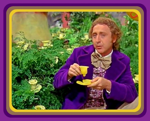 Willy Wonka sits down to drink from a Buttercup while the kids explore and eat candy in his invention room