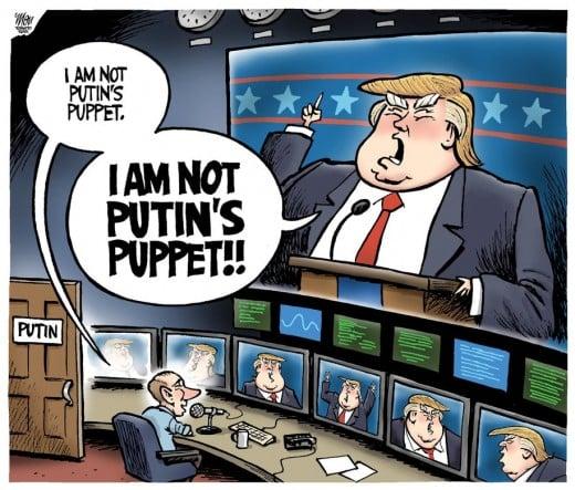 A political cartoon about Trump