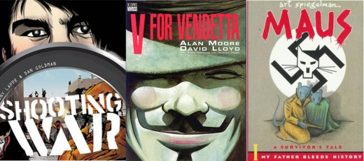 Shooting War, V for Vendetta, and Maus