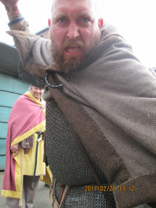 Meet Mike, one of the Jarl's retinue based at the Coppergate Encampment this year. I persuaded him to look threatening for this picture. Take a step back...