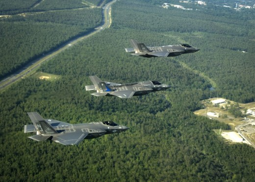 A flight of the three versions of the F-35 on version is capable of vertical take-off and landings. All three versions of the F-35 have advanced stealth technology.
