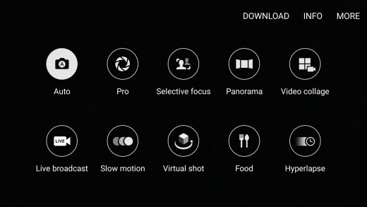 Options shown on the Camera Mode screen
