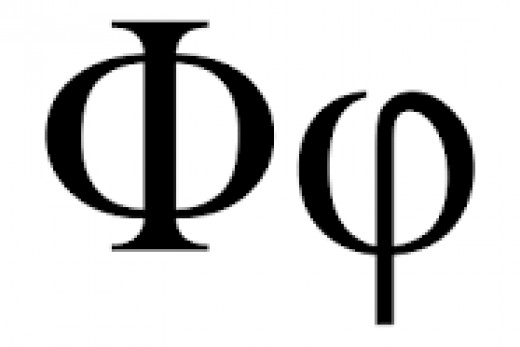 Symbol for Phi, the Golden Ratio, usually denoted by the Greek letter in lowercase, which represents an irrational number, 1.618033987