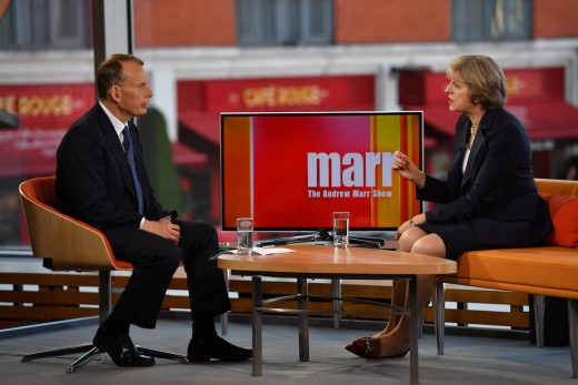 Theresa May being interviewed by BBC1's Andrew Marr