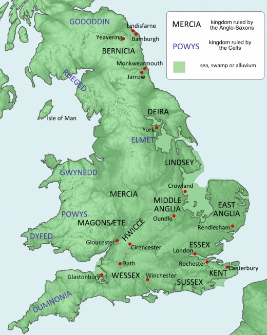 Incomers after the Romans left in the 5th Century. The Aengle - Angles - entered through the broad Humber and spread outward. Some went north and founded Deira, southern half of Northumbria. Others spread south to establish Mercia