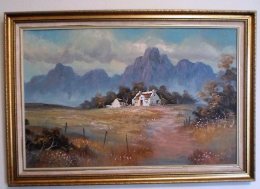 Painting of old Hartbees house at the foot of the Drakensberge (found inside our accommodation, Van Reenen, KZN, South Africa)