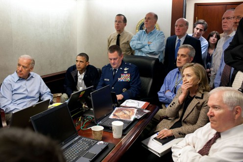 President of the United States Barack Obama in suspense as he  watched the raid on bin Laden's house in real time
