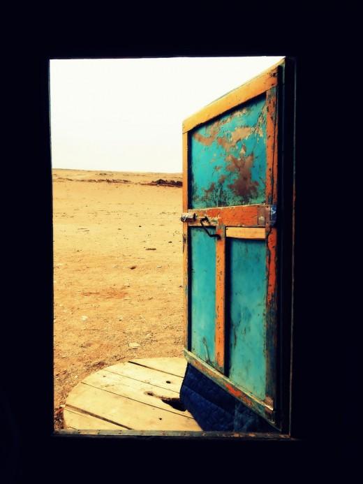 The door of a yurt