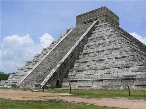 "The Temple of ""Kukulcan"" in the archaeological zone of ""Chichen Itza""."