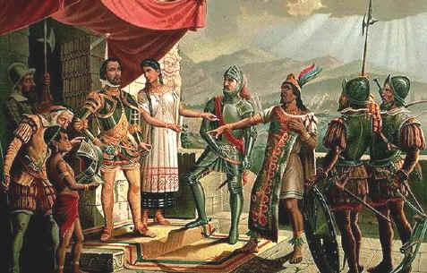 Encounter between Moctezuma and Cortés.