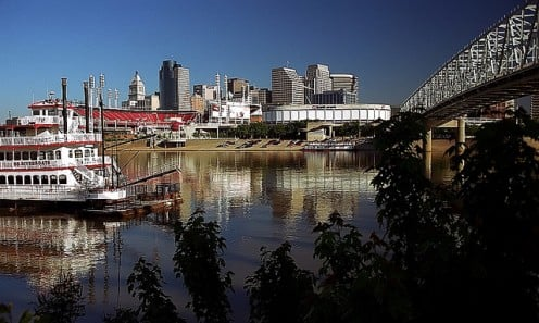 Cincinnati as seen from Newport, Kentucky, just east of Covington.