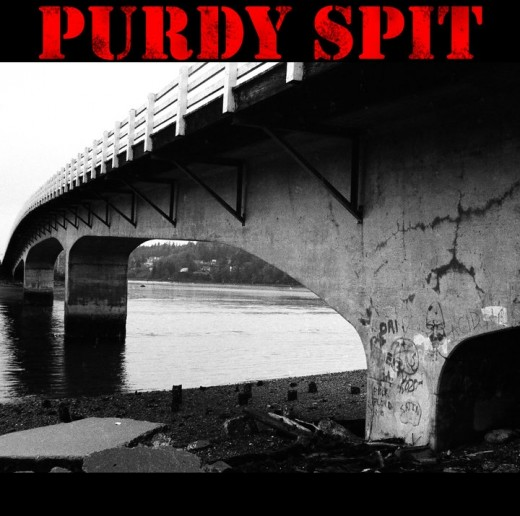 Purdy bridge from the beach. The album cover for Purdy Spit Band.