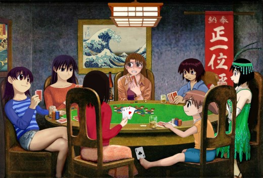 Girls Playing Poker (based on 'Dogs Playing Poker' by Cassius Marcellus Coolidge)
