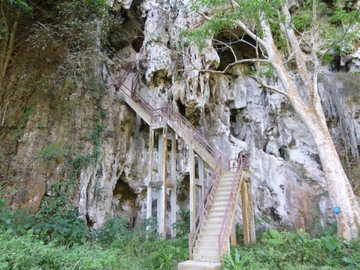 Stairway to one of the Caves , the most accessible one