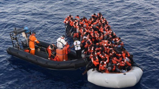 A boatload of refugees, trying to reach the coast of Italy and an Italian bout coming to help them by transferring some passengers and taking them to Italy.