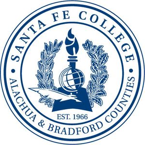 The seal of Santa Fe College, not to be confused with the logo.  The community college opened in 1966 under the name Santa Fe Community College, but changed it to Santa Fe College in 2008 to emphasize the bachelor's degree programs that it offered.