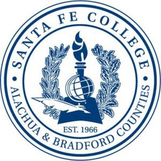 The seal of Santa Fe College, not to be confused with the logo.  The community college opened in 1966 under the name: Santa Fe Community College, but changed it to Santa Fe College in 2008 to emphasize the bachelor's degree programs that it offered.