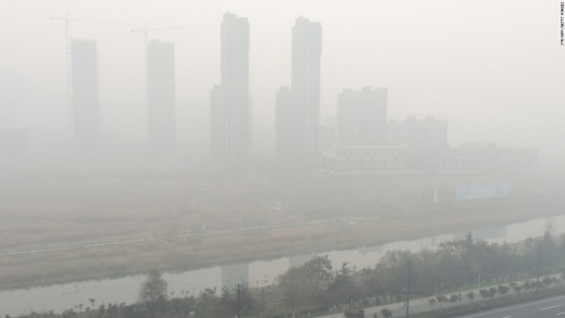 Beijing's dense layer of smog above the city