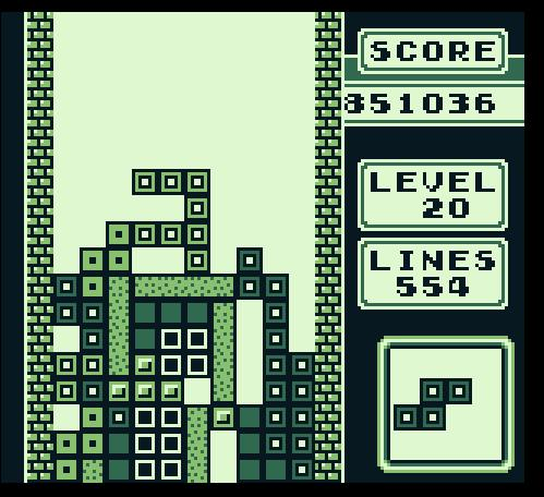 Tetris game running on an original Gameboy