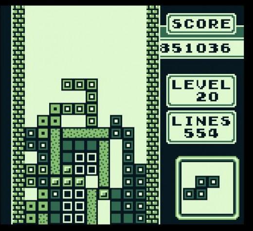 Tetris game running on an original Gameboy