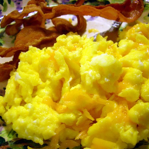 Scrambled eggs for breakfast, lunch or tea.