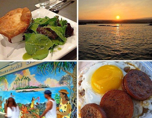 Clockwise from top left: Mushroom pot pie at Hilo Bay Cafe; sunset on Hilo bay; loco moco from Cafe 100; mural outside KTA grocery store.