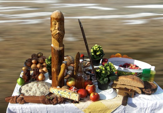Offerings of various fruits and vegetables left on a pagan altar.