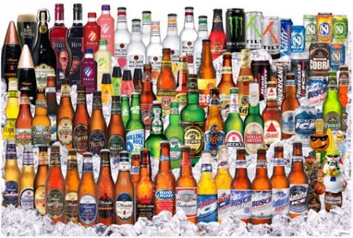Different brands of beer.