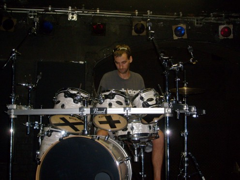 drum set up - he and James share the same set: like father like son, Adam is a GREAT drummer!