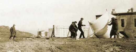 Marconi and Crew launching kite with antenna, Signal Hill.