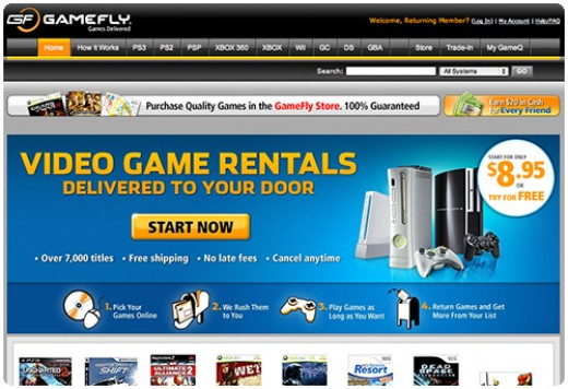 A screen shot of the Gamefly home page