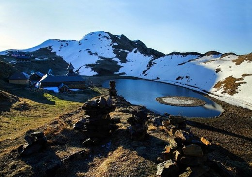 The enchanting view of Prashar temple and the adjoining lake