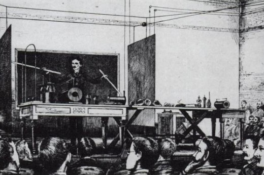 Nikola Tesla in a demonstration.
