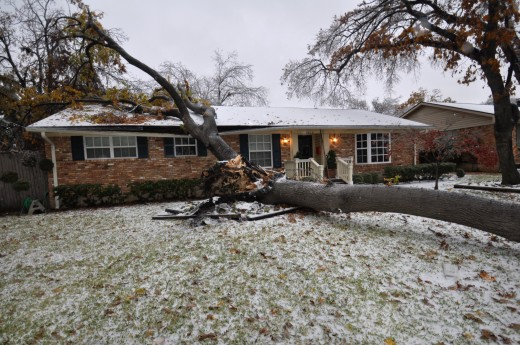 A fallen tree and damaged home caused by a Dallas, TX ice storm from December, 2013...