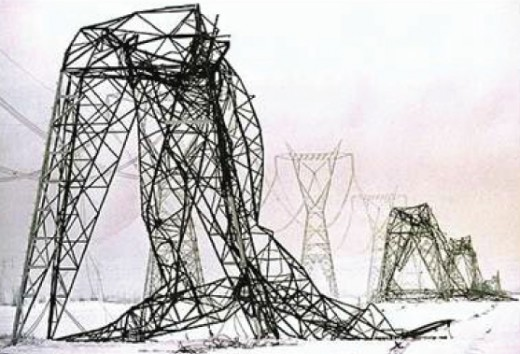 Damage to entire sections of the Northeastern power grid from the Great Ice Storm of 1998, affecting regions of the Northeastern US. and Southern Canada...