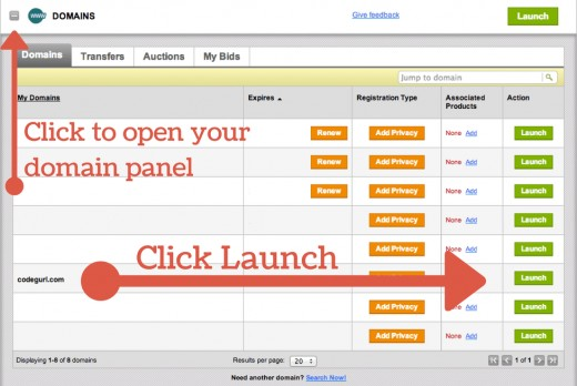 In your Godaddy console, find your domain and go for launch.