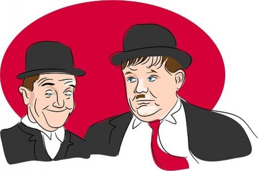 Stan Laurel (left) and Oliver Hardy