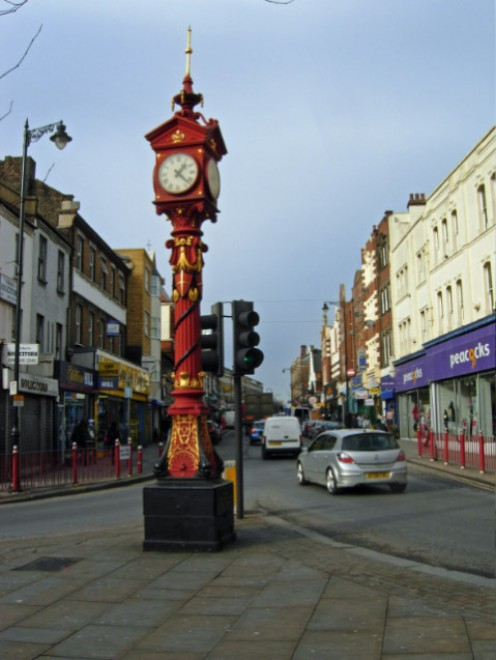 Harlesden High Street Looking along the western end of the High Street past the jubilee clock of 1888.