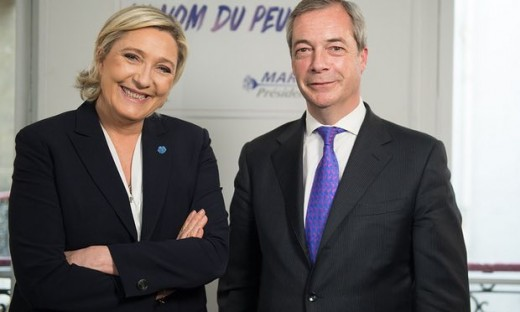 Nigel Farage with Marine Le Pen in whom he sees a kindred spirit when it comes to the EU. Photograph: Global Radio/PA